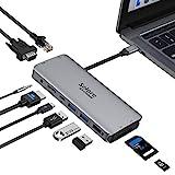 Hub USB C, Adaptateur Multiport 10-en-1 vers HDMI et VGA, Ethernet RJ45, Port Audio, Lecture Carte SD/TF, Port PD 100W, Ports USB 3.0 et Audio 3.5mm pour MacBook Pro/Air 2020 Dell XPS Tablette Type C