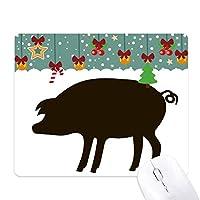 黒豚の動物の描写 ゲーム用スライドゴムのマウスパッドクリスマス