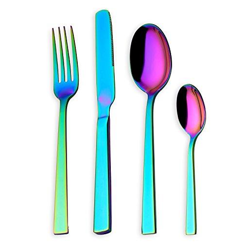 HOMQUEN Set di Posate, Set di Posate Colorate, Set di Servizio in Acciaio Inossidabile 18/10 per 6 Persone, Posate da tavola 24 Pezzi (Colore Arcobaleno)