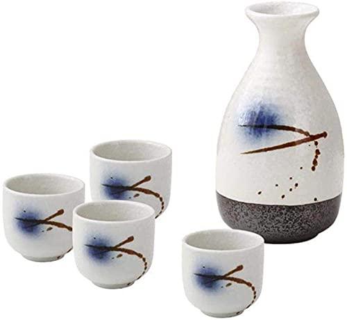 WJJ Juego de Tazas de Sake Japones Juego De Sake Japonés, Pintura De Glaseado De Glaseado Cerámica Sake Sirviendo para Fríos/Cálidos/Calientes/Shochu/Té, 5 Piezas