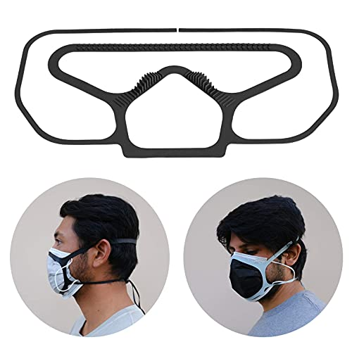 The Face Mask 2.0 - Comfortable Brace Goes Over Your Mask - Eliminate Glasses Fog - Never Wear Ear Loops Again- Tight Protective Seal - Soft Surgical Silicone (Black) - Quick Shipping from America