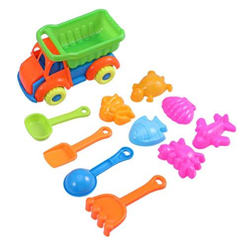 NUOBESTY 11 Stück Plastik Strand Sand Spielzeug Mini LKW Sandkasten Spielzeug mit Sandwerkzeugen für Kinder Kleinkind Kinder