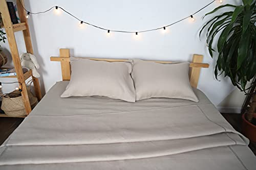 Linen Bedding Sheets & Pillowcases Comforter Set - Natural Flax Bed Sheet -4 Pcs Breatherable,Ultra Soft (Fitted Sheet, Bed Sheet, and 2 Pillow Protector) (Twin, Natural)