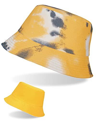 LIVACASA Sonnenhut Fischerhut Damen Sommer Hut UV Schutz Amtungsaktiv Tie dye Schirmmütze Mädchen Faltbar Kappe für Freizeit Gelb