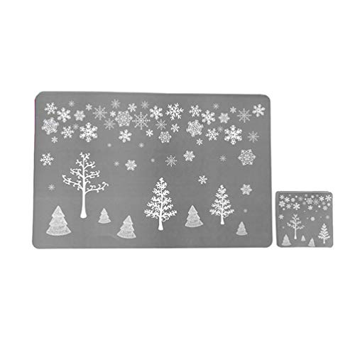 NUOBESTY 12pcs Christmas Placemats Coaster Set Xmas Tree Reindeer Dining Table Mats Pads Cup Coasters Holiday Table Decorations for Christmas Party Supplies