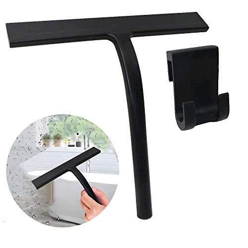 Pulluo Duschabzieher Silikon Fensterabzieher Duschwischer Schwarz Glasabzieher ohne Bohren Wischblatt für Badezimmer Spiegel Fenster Glasreinigung