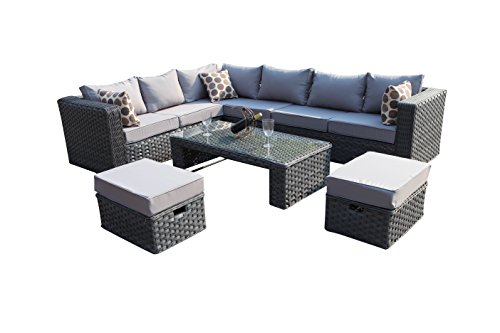 YAKOE 50020 Papaver Conservatory Modular 9 Seater Rattan Corner Garden Sofa Furniture Set - Grey