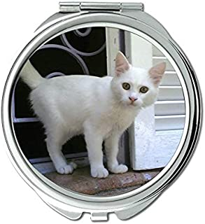 Compact Mirror Round Compact Mirror Double-sided,Egyptian cat mirror for Men/Women,1 X 2X Magnifying