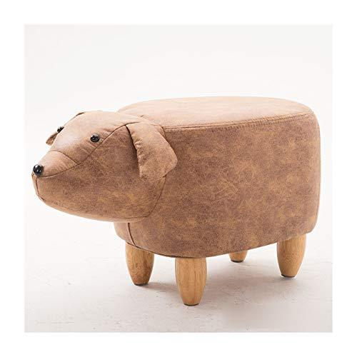 Taburete de almacenamiento con reposapiés de animales, decoración para niños, patas de marco de madera con tapa acolchada, muebles otomanos,Marrón,A