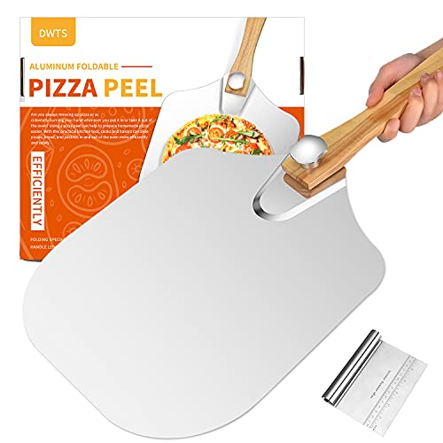 Premium Aluminum Large Pizza Peel 12 inch | DWTS Metal Pizza Spatula with Foldable Wood Handle for Easy Storage,Good Helper for Baking,Homemade Pizza and Bread