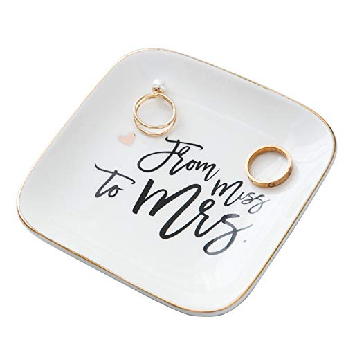 Tenforie Love Gifts for Her Jewelry Dish Ring Holder Trinket Tray Ceramic Plate Miss to Mrs - Jewelry Organizer Home Decor Dish for Birthday Wedding Mother's Day Christmas etc.