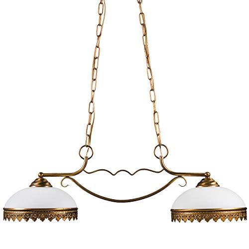 Helios Leuchten 204125 klassische Deckenleuchte | Pendelleuchte vintage | Pendellampe Messing antik | Messinglampe Jugendstil | Hängelampe Esstisch 2-flammig