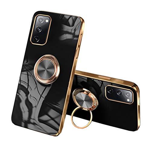 Funda compatible con Samsung Galaxy S20 FE, carcasa de TPU suave, funda con anillo de 360 grados y soporte magnético para coche, color negro