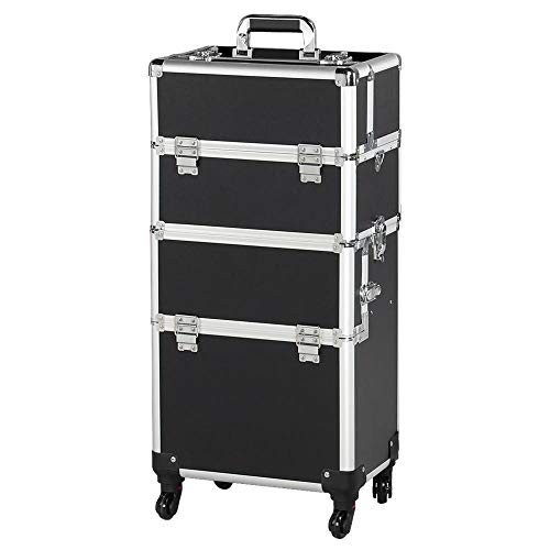 Yaheetech Friseurkoffer Kosmetikkoffer Alu Kosmetik Trolley 3 in 1 Schminkkoffer Make up Nail Art Koffer Box mit 360° Rollen Schwarz