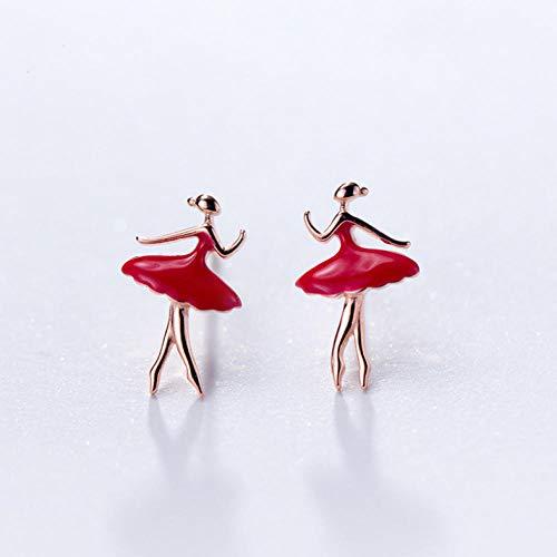 Empty 925 sterling zilver mode dames schattige ballerina rood stud oorbellen geschenk voor meisjes