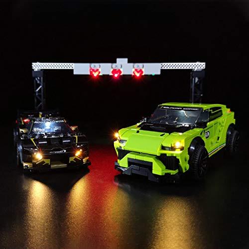 ColiCor Licht Set für Lego 76899 Speed Champions Lamborghini Urus ST-X & Lamborghini Huracán Super Trofeo EVO Rennwagen, kompatibel mit Lego 76899
