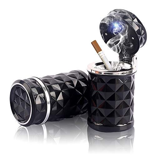 Besylo Posacenere auto,Posacenere per auto rimovibile da 2 pezzi facile da pulire con luce a LED con coperchio a scatto, portacenere autoestinguente per auto da campeggio allaperto (nero)