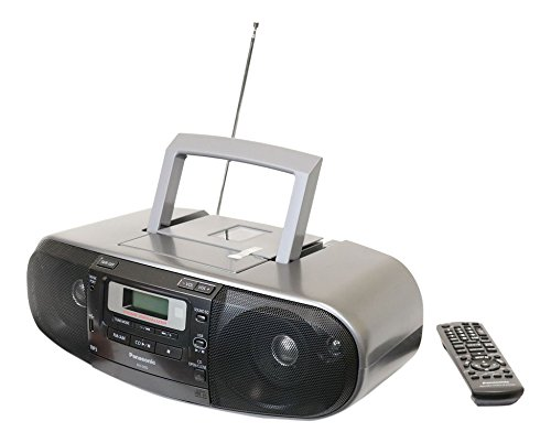 Panasonic RX-D55GC-K Boombox – High Power MP3 CD AM/ FM Radio Cassette Recorder with USB & Music Port Sound with 2-Way 4-Speaker (Black)