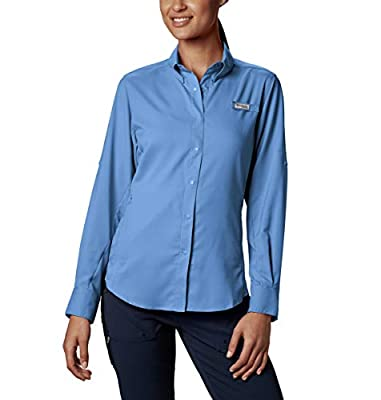 Columbia Women's Tamiami II Long Sleeve Shirt, White Cap(blue), X-Large