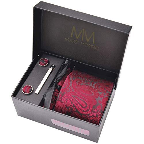 Massi Morino Krawatte mit Einstecktuch Set I inkl. Manschettenknöpfe und Krawattennadel I Herren Geschenkbox (Paisley Weinrot)