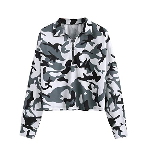 Find Discount HNTDG Womens Casual 1/4 Zip V-Neck Camouflage Printed Long Sleeve Pullover T Shirts To...