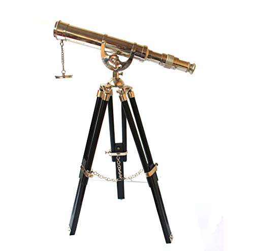 Vintage Tripod Reflecting Telescope Antique Dutch Brass Nautical Unique Eyepiece Harbour Master Stand