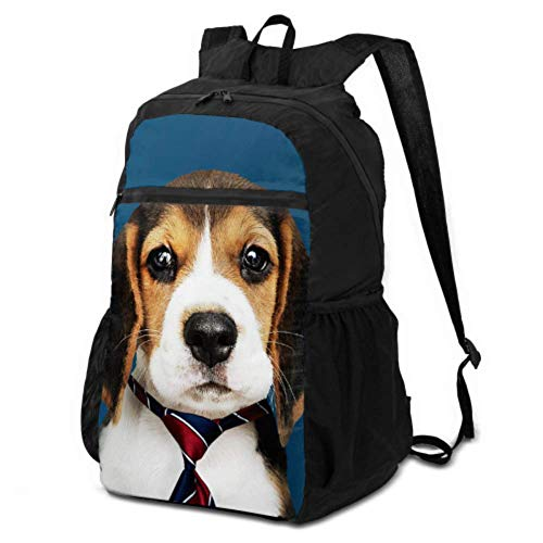 JOCHUAN Packable Foldable Backpack Cute Happy Dog Wear Tie Foldable Backpack Duffle Bag Bag for Hiking Lightweight Waterproof for Men & Womentravel Camping Outdoor