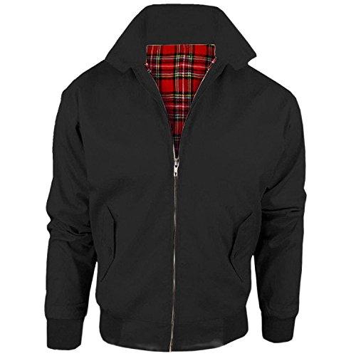 MyShoeStore Unisex Mens Ladies Womens Vintage Harrington Jacket Adults Bomber Coat Classic Retro Scooter 1970's Mod Skin Tartan Lining Top Size XS-5XL Black