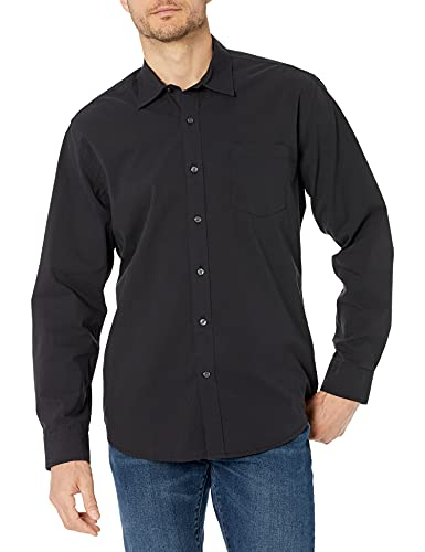 Amazon Essentials Regular-Fit Long-Sleeve Solid Shirt Hemd, Washed Black, Medium