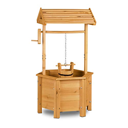 Relaxdays Decorative Garden Well, Wooden, Crank, Bucket, HxWxD: 82 x 47 x 41 cm, Wishing Well, Garden Decor, Natural Brown