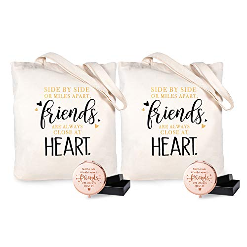ElegantPark Friendship Gifts for Best Friend Birthday Christmas Graduation Gifts Set for Women Canvas Cotton Tote Bag Engraved Compact Mirror for Pocket Travel Makeup Mirror