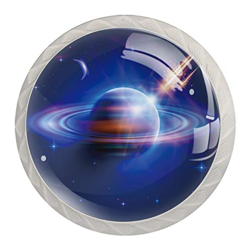 Space Starry Sky Galaxy Planet Pomos para cajones de aparador, pomos de armario de cristal transparente para el hogar, oficina, dormitorio, sala de estar, baño con tornillos