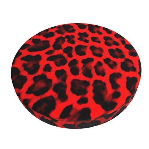Round Bar Stools Cover,Roter Leopardenmuster,Stretch Chair Seat Bar Stool Cover Seat Cushion Slipcovers Chair Cushion Cover Round Lift Chair Stool