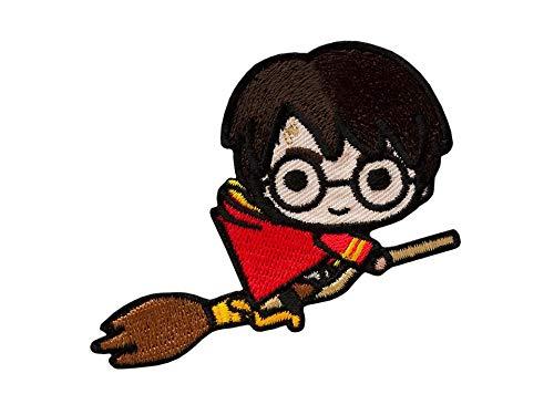 by gedeacc-kreativ Bügelbild Aufnäher Patch Applikation zum Aufbügeln Harry Potter mit Besen 8,0 cm x 5,5 cm