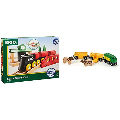 Brio World - 33028 Classic Figure 8 Set | 22 Piece Toy Train Set with Accessories and Wooden Tracks for Kids Age 2 and Up & 33404 Farm Train | Toy Train for Kids Age 3 and Up