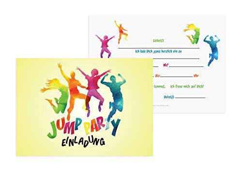 Friendly Fox Jump Party Einladung - 12 Trampolin Einladungskarten zum Geburtstag Junge Mädchen Teenager - Einladungskarten Kindergeburtstag - Jump Park Party - Trampolin Kinder (Uni)