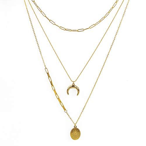 Collar femenino de acero de titanio simple collar creativo...