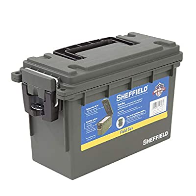 Sheffield 12626 Field Box | Water Resistant Storage | US Army Olive Drab Green Color | Tamper-Proof with 3 Locking Options | Stackable Design Makes for Great Pistol, Rifle, or Shotgun Ammo Storage Box