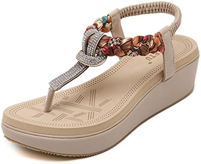 Women's Wedge Sandals, Bohemian Large Size Summer shoes Rhinestones Decoration Ankle Elastic Strap Platform Flip Flops Beach Slippers