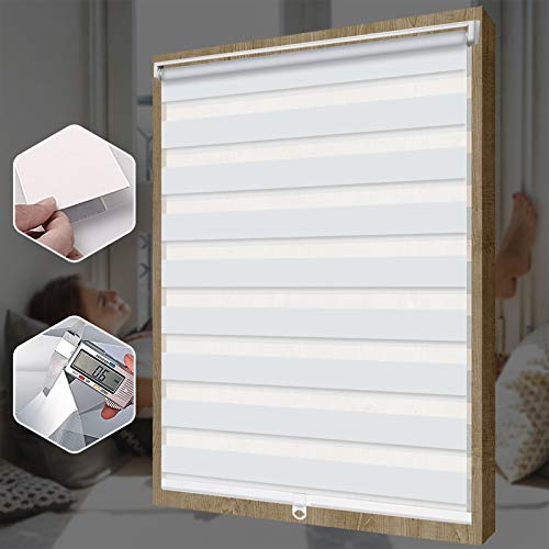 SEEYE Free-Stop Cordless Zebra Roller Blinds Horizontal Window Shade Dual Layer Sheer Privacy Day and Night Curtains Easy to Install Greyish White, 51 1/4