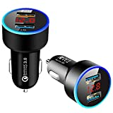 Car Charger LED Cell Phone Cigarette Lighter USB Charger Dual Port QC3.0 + 2.4A Car Charger Charging Adapter Car Mini Adapter with LED Display Digital Voltmeter