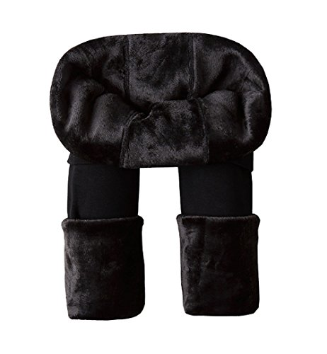 Leggings térmicos de Ouye para mujeres, longitud total de la pierna, forro polar térmico Negro negro Talla única