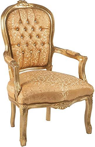 Sillón Barroco en tejido de seda Damascada Oro y madera en hoja dorada