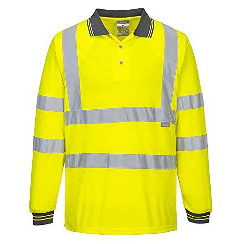 Portwest Hi-Vis Maglietta Polo Manica Lunga Alta Visibilità, Uomo, M, Giallo
