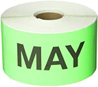 Tape Logic DL6782 Pre-Printed Months of the Year Inventory Rectangle Label Legend MAY 6 Length x 3 Width Fluorescent Green (Roll of 500) [並行輸入品]