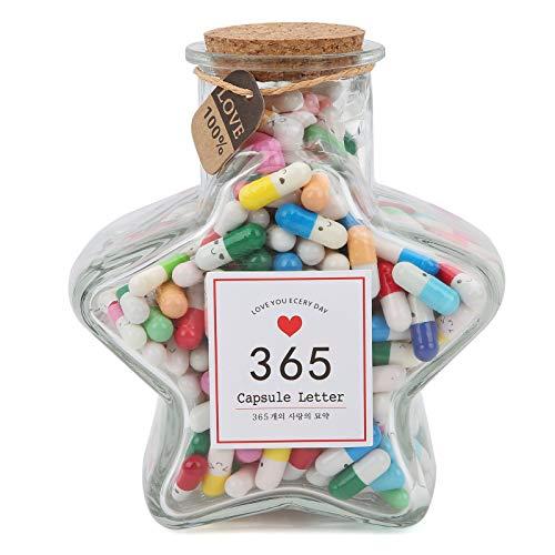 Zerodis Botella de Deseos con Letras en cápsula, 365 Piezas Píldoras de Mensajes de Estilo de Colores Mezclados Cápsula Botellas de Deseos de Vidrio Botellas de Deseos de Amistad para decoración(#1)