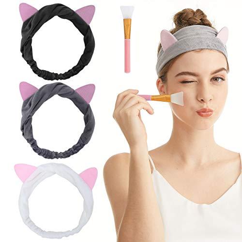 Haarband für Make Up - Spa Stirnband Haarbänder Mit Katzenohr Für Gesicht Waschen Oder Make-up (3-teiliges Set 1)