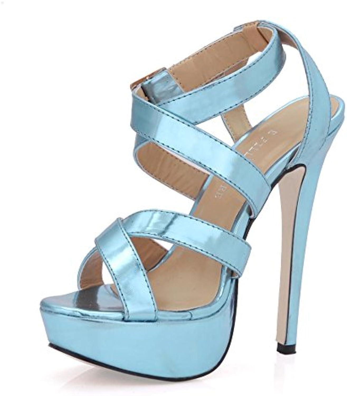 Best 4U Damen High Heels Sandalen Stiletto Gummisohle Premium PU Runde Toe 12CM Ferse Frühling Sommer Schuhe Blau