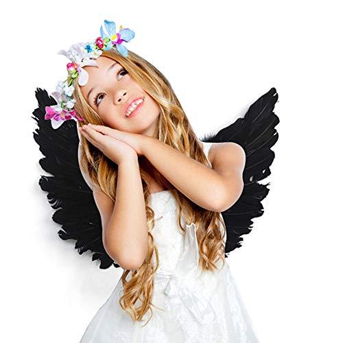 Dightyoho Feder Engel Flügel Erwachsene Kostüm Fee Flügel Halloween Weihnachten Dekoration für Erwachsene Kinder Mädchen Frauen Schwarz
