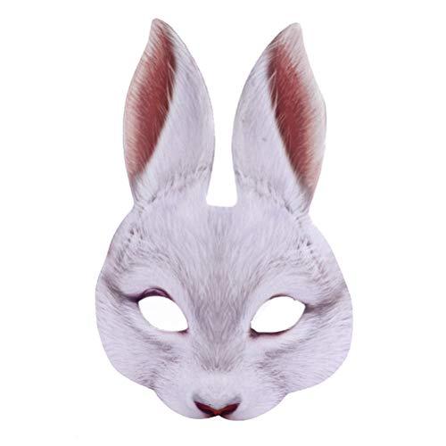 Creamon Kreative Halbgesichts-Kaninchenmaske, Kreative Halbgesichts-Kaninchenmaske Lustige Eva-Kaninchenhasenmaske für Party Festival Club White